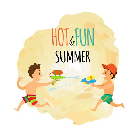 Children with water guns isolated icon, summer outdoor activity vector. Boys in swimming trunks spraying water, kids on beach, holidays or vacation
