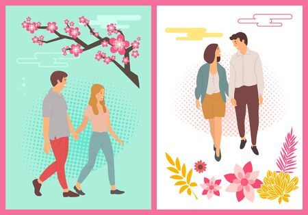 People in spring vector, couples holding hands and walking enjoying cherry blossom flat style set. Man and woman in love, foliage and blooming of nature