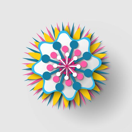 Paper cut origami of flower, colorful blossom ornament with shadow, 3d view of floral symbol, greeting or poster decorated by bouquet, festive vector