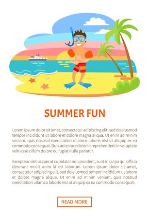 Summer fun, boy on beach vector, summertime hobby of child, active relaxation. Kid wearing equipment for snorkelling and diving underwater. Website or webpage template, landing page Illustration