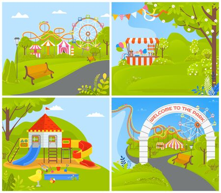Attractions and carousels at amusement park vector, nature and greenery, trees and tent for selling stuff. Playground with wooden castle for kids, empty park