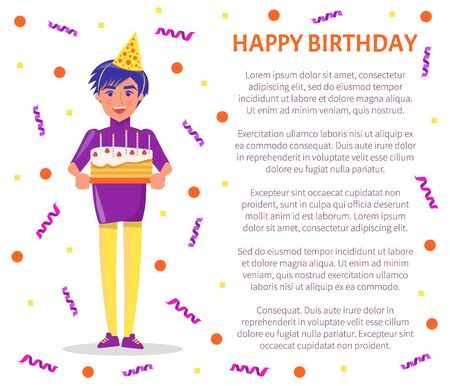 Happy birthday poster, party celebration, man in festive hat with cake in hands, text sample and color tinsels. Guy on bday with sweets with burning candles