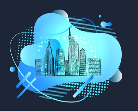 Skyscrapers vector, big city with high tall buildings and developed infrastructure, metropolitan megapolis for tourists. Abstract design with shapes. Modern futuristic neon sketch town