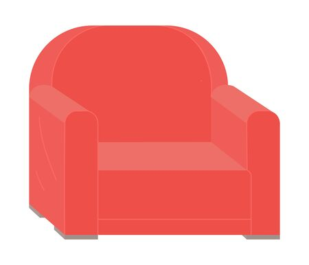 Red retro armchair isolated on white. Vector piece of furniture, cosy seat or sofa design. Elegant leather chair, comfortable upholstery, relaxation place