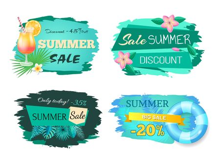 Summer sale advertisement labels vector illustration isolated on white. Set of summertime stickers with cocktail, flowers and info about discounts Ilustrace