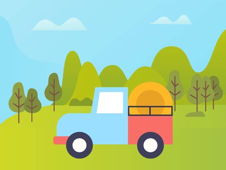 Green field vector, truck transporting grain to destination, hay bales in machine. Greenery of forest and meadows, industrial agriculture, farming