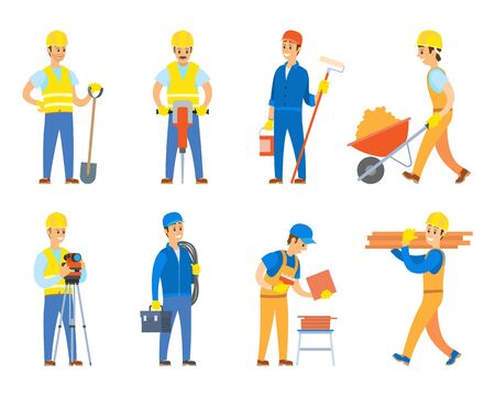 Engineers and designers for building construction vector, isolated set of character wearing uniform and using instruments, paint roller and tolley 向量圖像
