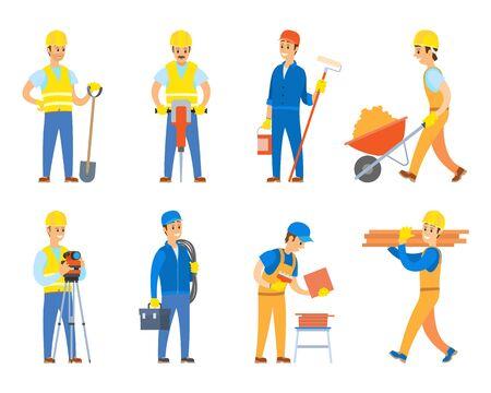 Ingenieurs en ontwerpers voor bouwconstructievector, geïsoleerde karakterset die uniform draagt en instrumenten, verfroller en tolley gebruikt