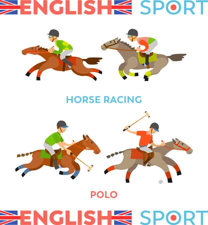 English sports types vector, male team riding horses racing, polo game. People wearing special uniform and helmets, wild and dangerous competition