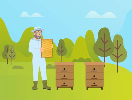Beekeeping activity of man vector, production of honey on nature. Man with beeswax wearing special costume protecting from bees sting, forest and trees