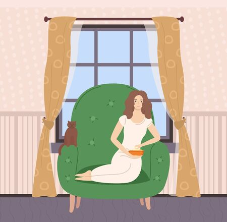 Woman sitting on sofa or big armchair with cat, female eating popcorn, interior of room, wooden window with curtain, wallpaper and floor, leisure vector