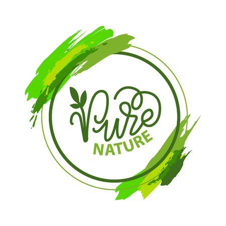 Czysta natura napis i zielona kaligrafia, roślina ogrodowa na białym tle w okrągłej ramie z pociągnięciami pędzla. Etykieta wektorowa o przyrodzie przyjaznej dla środowiska