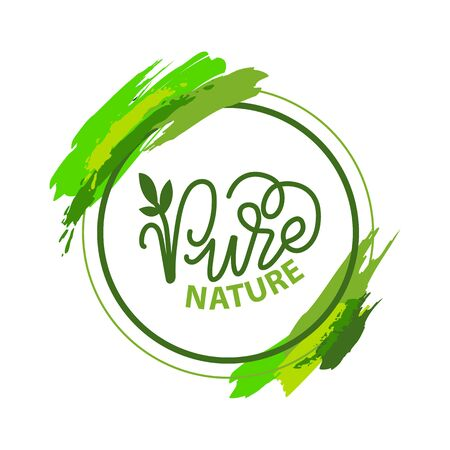 Letras de naturaleza pura y caligrafía verde, planta de jardín aislada en marco redondo con pinceladas. Etiqueta de vector de naturaleza amigable con la ecología