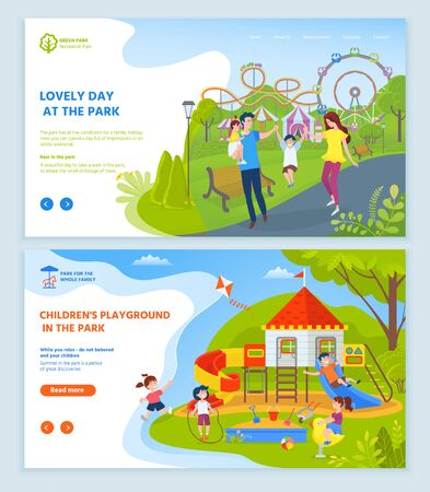 Childrens playground at park vector, kids playing in wooden castle flying paper kite at sky. Family mother and father with kiddo spending time. Website or webpage template, landing page flat style