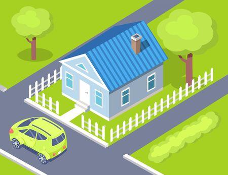 Rust van landelijk gebied vector, auto geparkeerd door huis van eigenaar, vandaar en groen gazon met bomen en lentegroen. Stedelijk gebied landgoed flats stijl