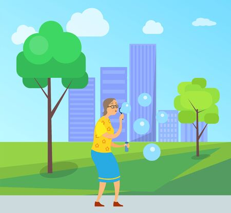 Woman on retirement vector, lady blowing in ring and making soap bubbles in city park, cityscape with buildings and skyscrapers, senior person fun Banque d'images - 125915877