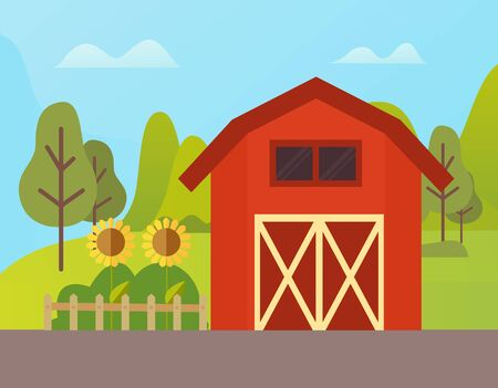 Red building for livestock vector, sunflowers growing by farmhouse, wooden fence and trees. Natural environment of ranch grange in rural area, farm