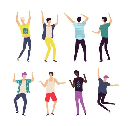 Moving men set, full length, portrait and back view of males in casual clothes, dancing people, bachelor party or celebration element, dancer boy vector