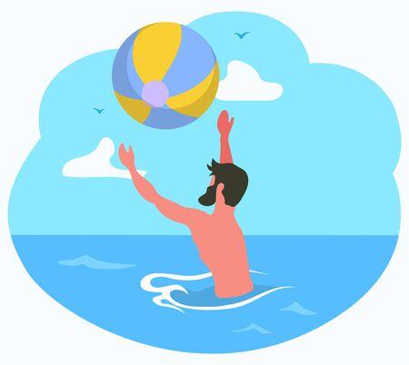 Homme jouant au ballon dans l'eau, vue latérale d'un homme avec barbe, éclaboussures ou entraînement en mer ou en océan, image vectorielle. Mec barbu à la station estivale, adulte relaxant Vecteurs