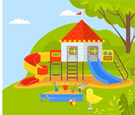 Playground for children at park vector, wooden castle with flag and tubes to ride down. sandbox with shovel and bucket to play and build constructions Illustration