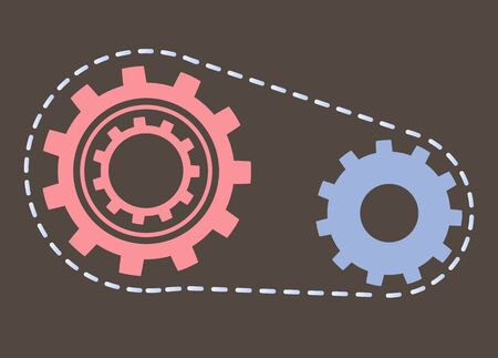 Process vector, rounded gear with lines isolated tool flat style. Device cogwheel, round shaped object vintage look instrument clockwork construction Illustration