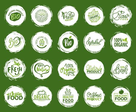 Bio food and ingredients vector, flora and plants with leaves and foliage, natural and healthy meal, ecologically pure and organic flora logotypes for vegetarian organic menu