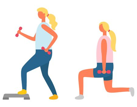 Fitness exercise, girl doing lunges with dumbbells and step vector. Training and sport, daily workout and healthy lifestyle, aerobics and physical activity Çizim