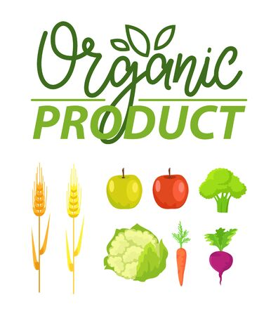 Organic product vector, natural production apples and broccoli, wheat crops and cabbage, carrots and beetroot, clean food meal, floral logotype set Illustration