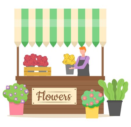 Flower shop business of person vector, salesperson holding bouquet of eco pot and plant isolated store with decoration for home interior flat style
