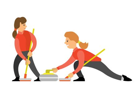 Curling sport, players slide stones on sheet of ice towards a target. Players playing special bats and stone vector, man and woman opponents isolated Illustration