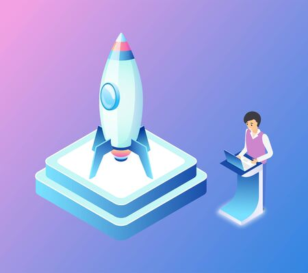 Rocket launching process vector, businessman developer controlling and computing isometric 3d. Man and pedestal with spaceship shuttle made of metal
