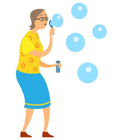 Elderly old woman blowing soap bubbles, portrait and full length view of pensioner female wearing skirt and t-shirt making bubble-blower, funny vector