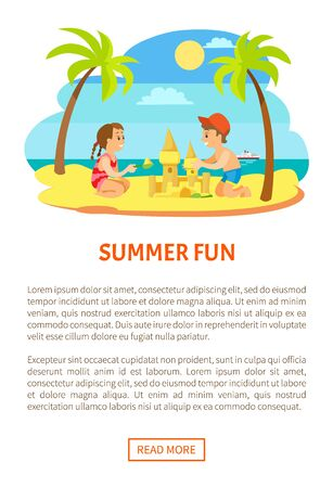 Summer fun, children on beach making sand castle, summertime activity. Palm trees and coastline, kids making figures at seashore. Website or webpage template, landing page flat style Illustration