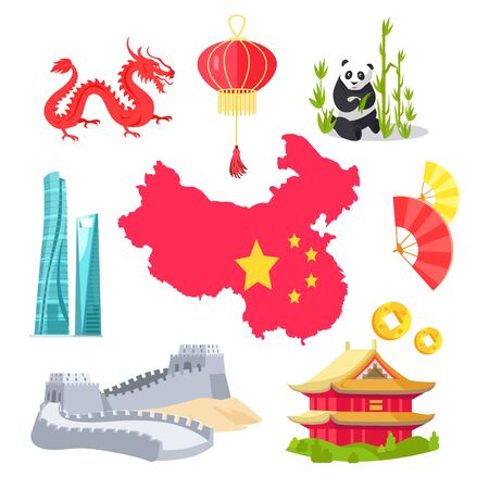 Panda with bamboo vector, map of Chinese country with flag and stars, mythological dragon creature, architecture and buildings, great wall sights. China simbols 일러스트
