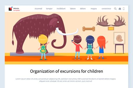 Museum excursion for children vector, kids looking at big furry mammoth with tusks. Horns of animals and pictures on wall, school activities. Website or webpage template, landing page flat style