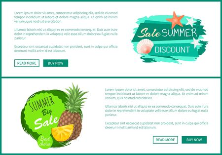 Summer big sale set of posters with text sample. Promotion and special discounts for products. Pineapple and slice of tropical fruit reduction vector