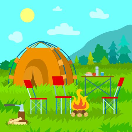 Tent on top of mountain, cloudy sky, firewood and ax, served table by meal and flask, couple chairs. Outdoor activity, coniferous forest vector Illustration