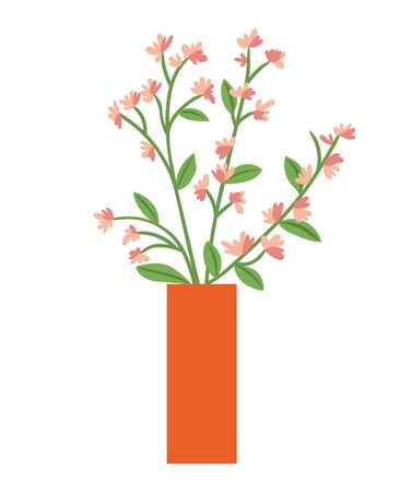 Flowers in vase or flowerpot with blooming plant isolated interior design decorative element. Vector pink blossoms and green leaves, pot with buds on branch Illustration