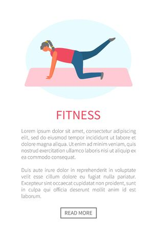 Workout and fitness, girl lifting legs on mat or rug vector. Healthy lifestyle and sport tips online web page template, buttocks and legs muscles pumping 向量圖像