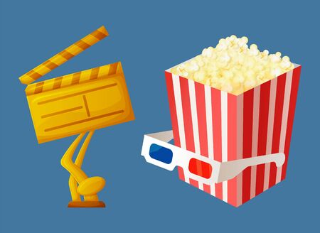 Movie award made of gold vector, popcorn in package with stripes glasses on container with snack. Reward for producer in form of golden clapperboard  イラスト・ベクター素材