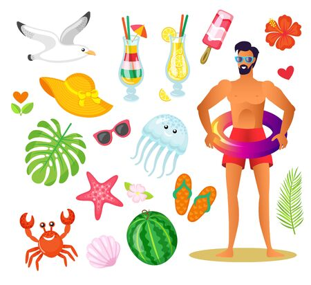 Man traveler on summertime vacation vector, isolated summer icons set of cocktail, watermelon and starfish. Ice cream and hat, monstera leaf, seagull and exotic flower Illustration