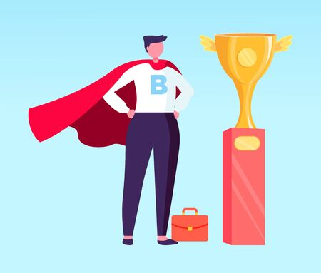 Successful completion of task vector, isolated businessman wearing formal clothes and cloak flat style. Person achieved success, trophy golden cup Illusztráció