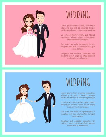 Happy newlywed couple dancing first dance and standing together with bouquet of flowers. Vector just married husband and wife in wedding dresses