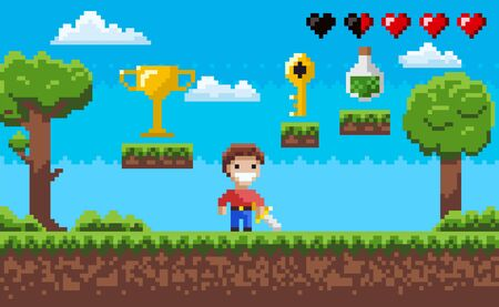 Pixelated scenery vector, pixel art game process with hero character and nature, life in form of hearts, elixir in bottle, award on layer, golden key Ilustração