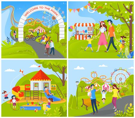 People having fun at amusement park vector, ferris wheel and attractions, carousel and decorations on playground, trees and natural rural area set Illustration