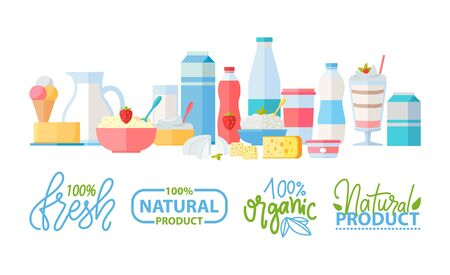 Fresh and natural ingredients vector, logotypes and food set. Bottles and packages with water and milk, porridge and ice cream dessert, lemon and drinks