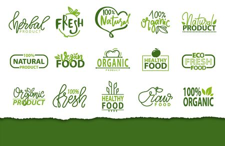 Fresh meal and organic ecology cleen products vector, logotypes with foliage and leaves, inscriptions, isolated logos with plant and vegetation, natural eco food set