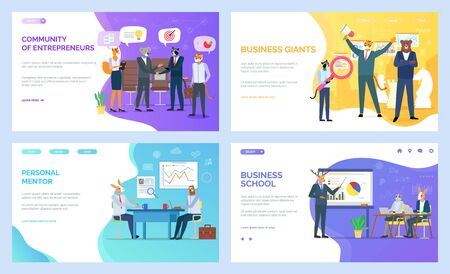 Business school vector, hipster animals developing skills in field. Personal mentor on meeting with student, entrepreneurs and giants tiger and bear. Website or webpage template, landing page flat style Archivio Fotografico - 125916252