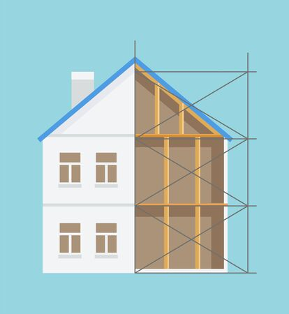 Building construction, logs indoor, windows and chimney, half built house, engineering occupation, interior and exterior, architecture technology vector Illustration