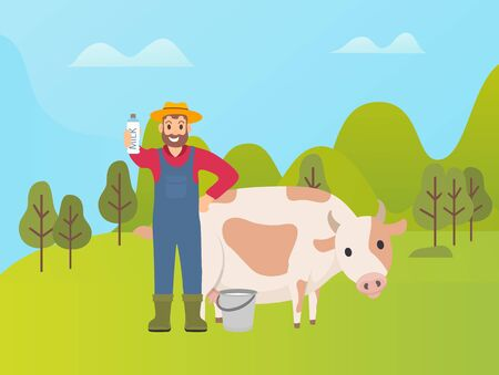 Person with animal vector, farmer standing by cow in green nature. Cattle caring, bucket with fresh product and package with vitamins. Livestock and man
